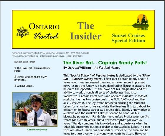 Sunset Cruises Newsletter